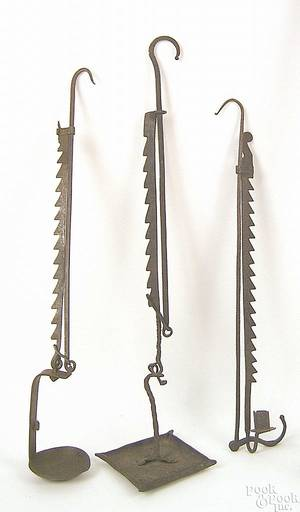 Wrought iron adjustable sawtooth trammel 18th c