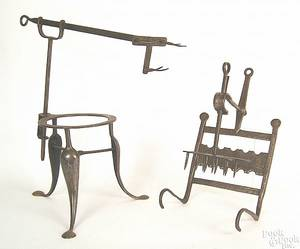 English wrought iron adjustable trivet toaster 18th c