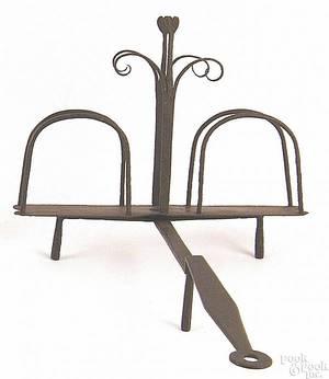 Lancaster County Pennsylvania  wrought iron rotating toast rack ca 1800