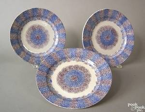 Three blue and purple rainbow spatter plates 19th c