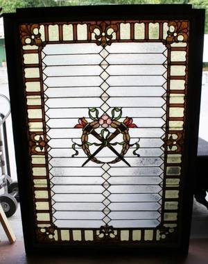 E 20th C Stained Glass Landing Window