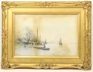Henri Cassiers Harbor wFigures Watercolor