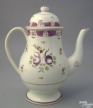 Pearlware dome lidded coffee pot