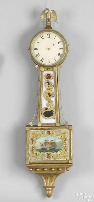American mahogany and giltwood banjo clock ca 1830