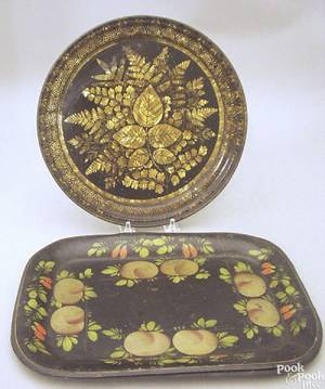 Round tole decorated tray mid 19th c
