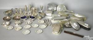 Group of silver plate together with 2 silver dresser boxes