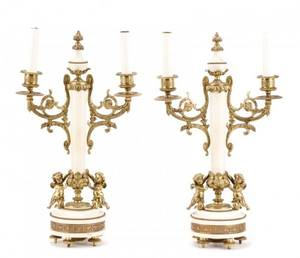 Pair French Gilt Bronze  Marble 2 Arm Candelabra