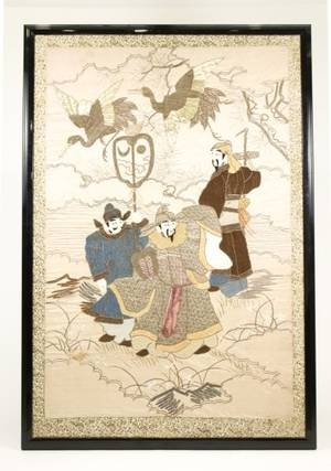 Large Framed Chinese Figural Embroidery Textile