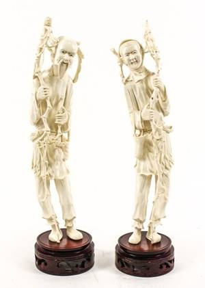 Pair of Chinese Carved Ivory Male Figures