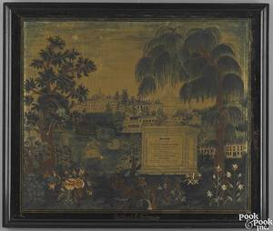 Maine silk pencil paint and ink on silk memorial needlework by Sarah E Sawyer dated 1833