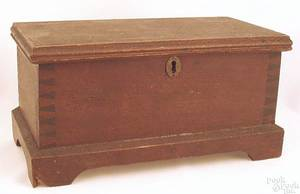Pennsylvania walnut miniature blanket chest ca 1800