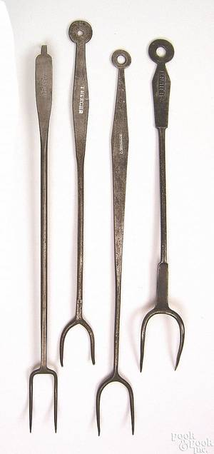 Four Pennsylvania wrought iron meat forks early 19th c