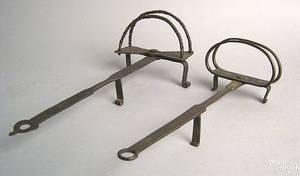 Two Pennsylvania wrought iron toasters 18th c