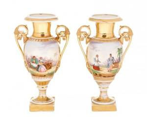 Pair of Old Paris Figural  Gilt Porcelain Urns