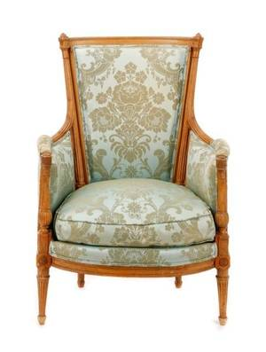 Louis XVI Period Carved  Upholstered Bergere