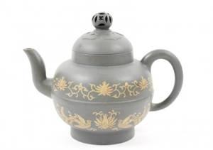 Blue Yixing Zisha Teapot with Phoenix Motif