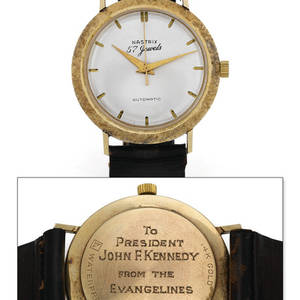 Unique and Historically Important Kennedy Onassis Wristwatch Worn by JFK and Gifted to Aristotle Onassis by Jackie Kennedy Nastrix