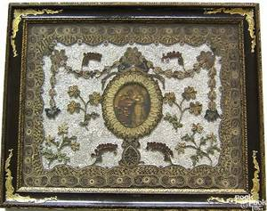 English rolled paper crushed motherofpearl and watercolor on silk picture late 18th c
