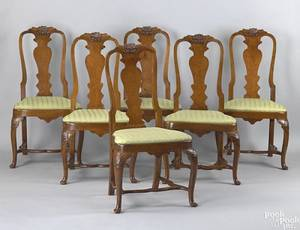 Set of 6 Irish Queen Anne oak dining chairs late 18th c