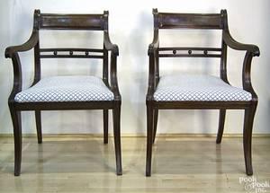 Pair of Regency mahogany open armchairs ca 1820