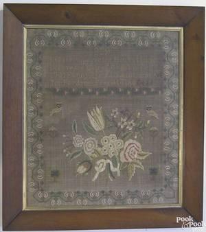 Silk on linen needlework sampler dated 1829