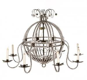 Round Open Cage 8Light Chandelier 20th C