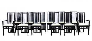 Set of 12 Chinese Black Lacquered Dining Chairs