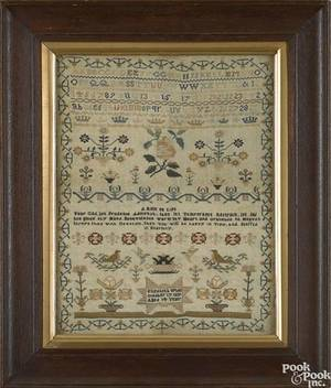 English silk on linen needlework sampler dated 1837