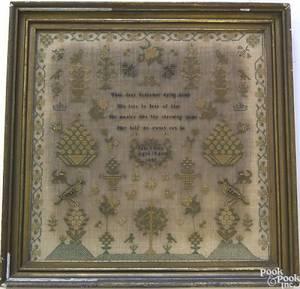 English silk on linen needlework sampler dated 1849
