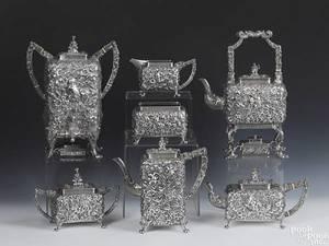Rare ornate S Kirk  Son silver tea service
