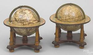 Pair of celestial and terrestrial table top globes early 19th c