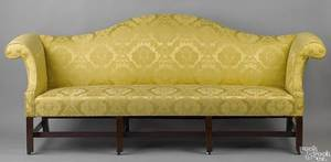 George III Chippendale mahogany camelback sofa ca 1760