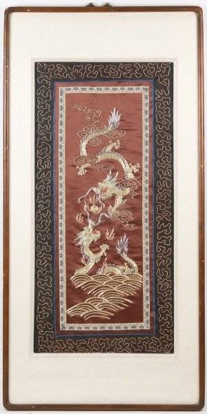 Chinese Embroidery Textile Panel wDragon Motif