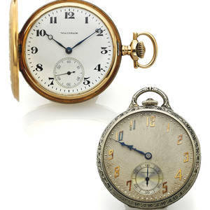 A PAIR OF AMERICAN POCKET WATCHES GOLD A Waltham