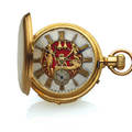 SWISS MINUTE REPEATING AUTOMATON WATCH FATHER TIME YELLOW GOLD Swiss