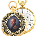 OUDIN  TRIPLE DATE CALENDAR  MOON PHASE PORTRAIT OF TSAR ALEXANDER II Charles Oudin