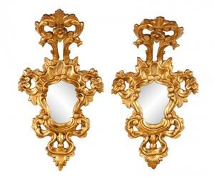 Pair of Petite Rococo Style Giltwood Mirrors