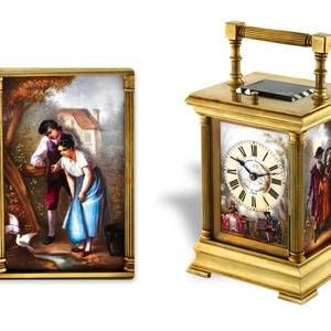 QUARTER STRIKING CARRIAGE CLOCK WITH PAINTED PORCELAIN PANELS French