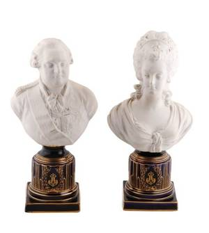 Pair of Sevres Style Parian Ware Busts 19th C