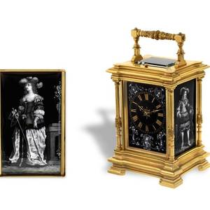 CARRIAGE CLOCK WITH LIMOGES ENAMEL PANELS French