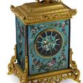 CHINOISERIE MANTEL CLOCK WITH PORCELAIN PANELS French