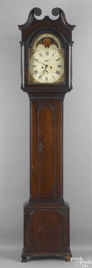 Montgomery County Pennsylvania Chippendale walnut tall case clock ca 1795