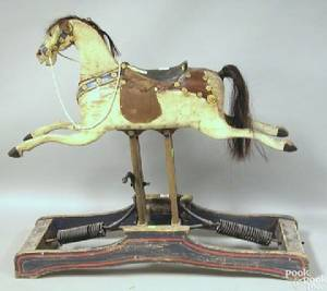 Carved and painted childs rocking horse late 19th c