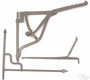Wrought iron adjustable crane 18th c