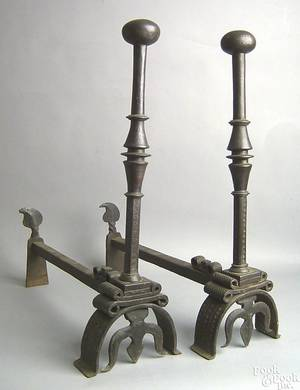 Pair of English wrought iron andirons 16th c