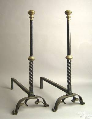 Pair of English wrought iron andirons late 17th c