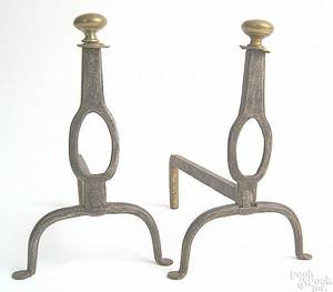 Pair of miniature wrought iron andirons 18th c