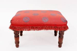 Small Turned Wood Footstool