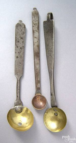 Two Pennsylvania brass and wrought iron tasters early 19th c