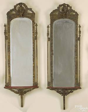 Pair of Continental giltwood mirrors ca 1800